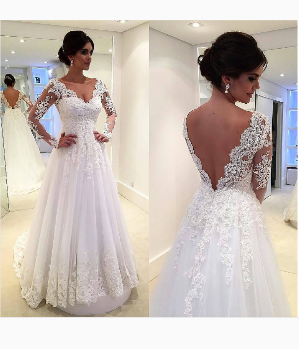 V-back Long Sleeve Lace Wedding Dress - daisystyledress