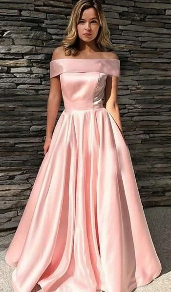 Sexy Off Shoulder Sleeves Pink Prom Dress - daisystyledress