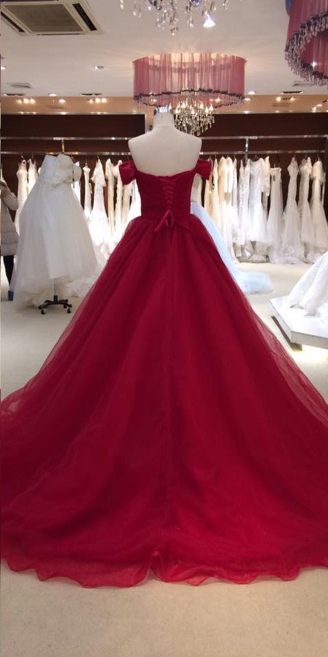 Ball Gown Off Shoulder Sleeve Burgundy Wedding Dress - daisystyledress