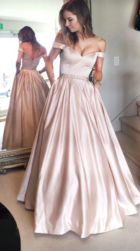 Off Shoulder Sleeve Blush Prom Dress with Pocket - daisystyledress