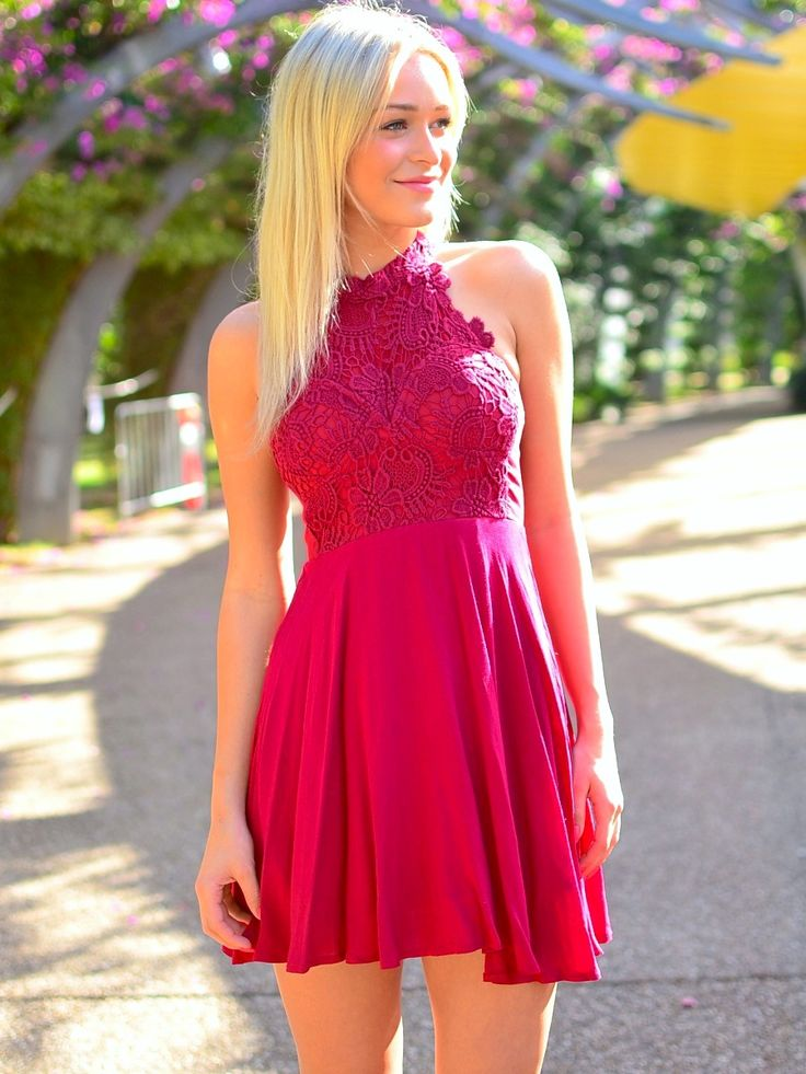 Knee Length Halter Neckline Fuchsia Homecoming Dress - daisystyledress