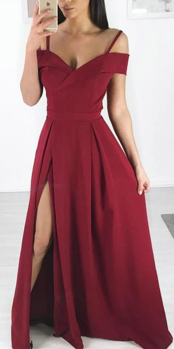 Sexy Off Shoulder Sleeves Slit Burgundy Prom Dress - daisystyledress