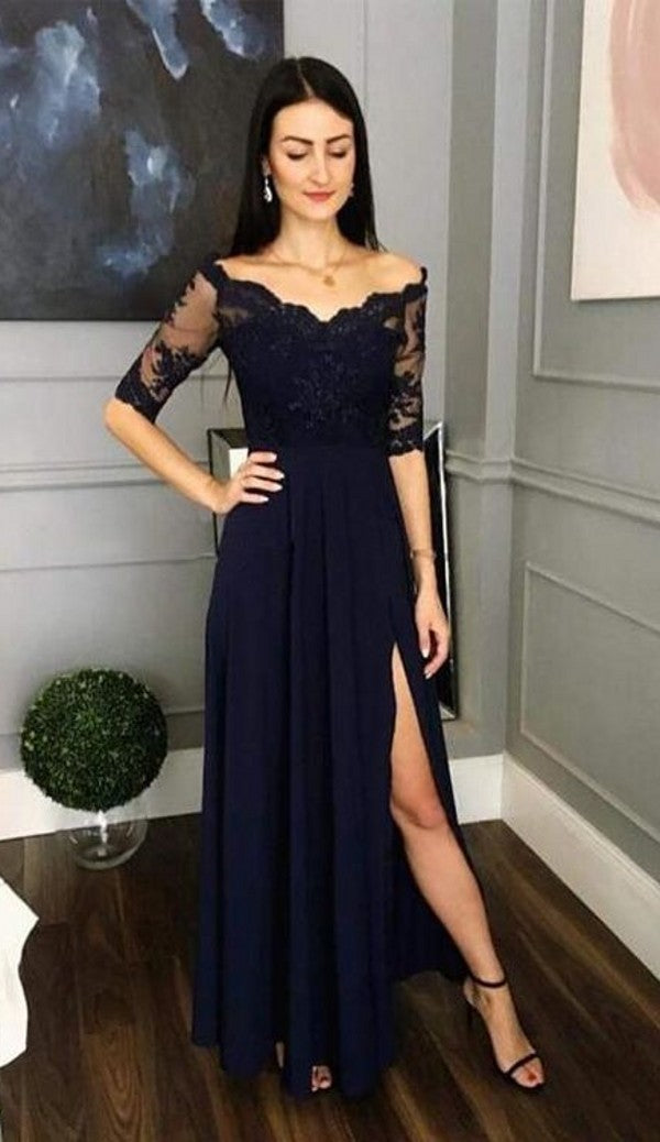Long Sleeve Lace Dark Navy Wedding Guest Dress - daisystyledress