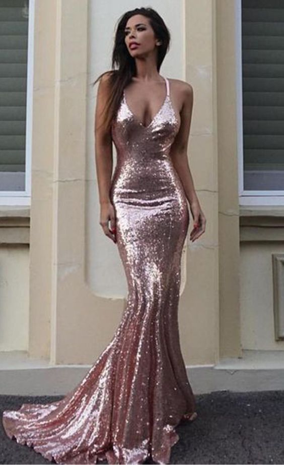 Mermaid Pearl Pink Sequins Prom Dress - daisystyledress