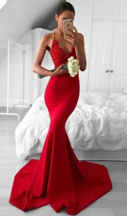 Mermaid Spaghetti Straps Red Evening Dress - daisystyledress