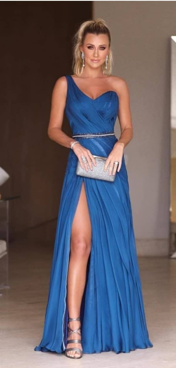 Elegant One Shoulder Sexy Slit Evening Dress - daisystyledress