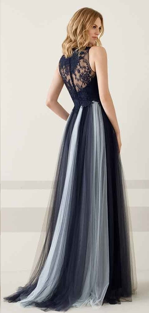 Fashion V-neckline Dark Navy Evening Dress - daisystyledress