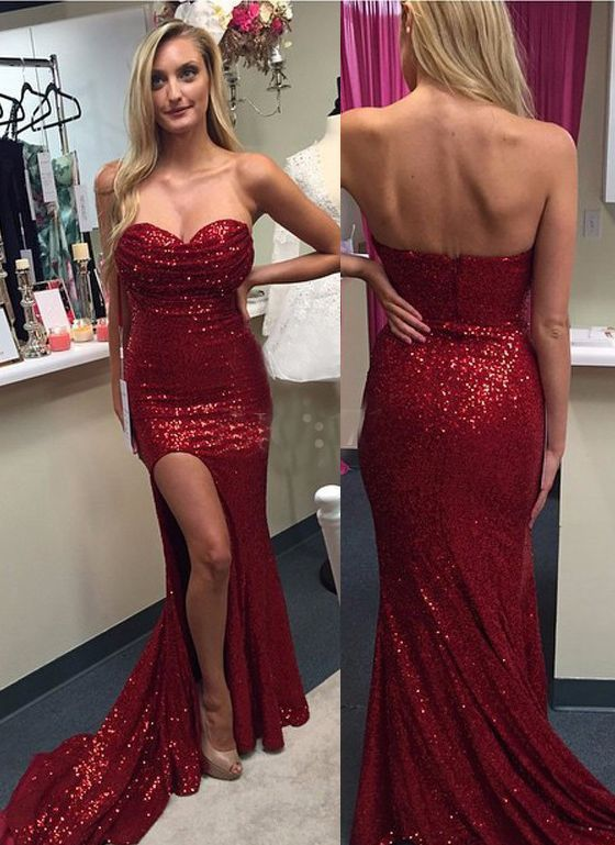 Mermaid Slit Burgundy Sequins Prom Dress - daisystyledress