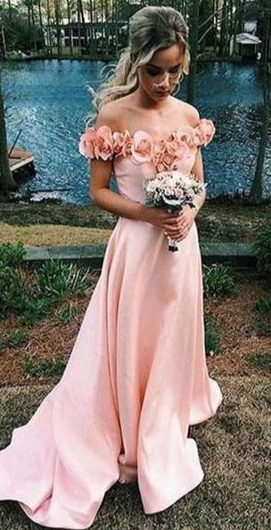 Off Shoulder Sleeves Pearl Pink Prom Dress - daisystyledress