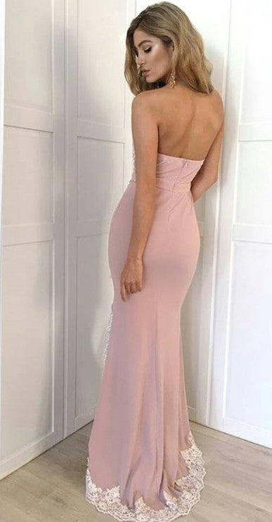 Simple Mermaid Slit Blush Pink Prom Dress - daisystyledress