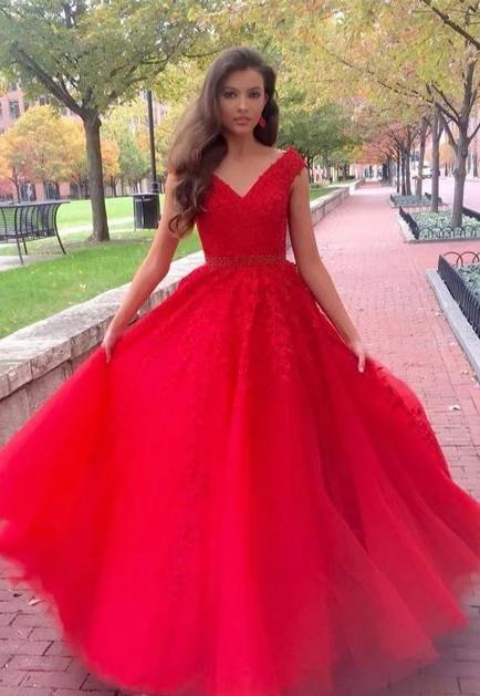 Ball Gown Cap Straps Tulle Red Prom Dress - daisystyledress