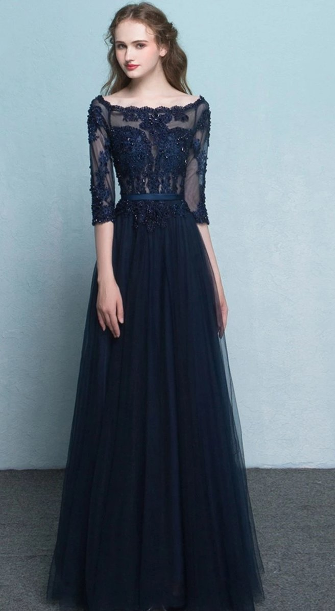 A line Half Sleeve Navy Blue Evening Dress - daisystyledress