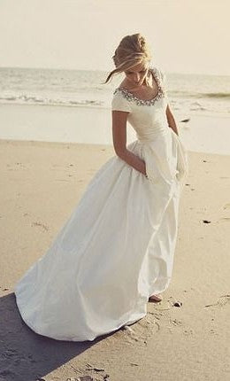 Modest Short Sleeves Beach Wedding Dress - daisystyledress