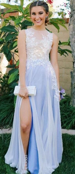 A line Illusion Slit Light Blue Prom Dress - daisystyledress
