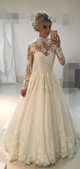 Modest Long Sleeve Lace Wedding Dress - daisystyledress
