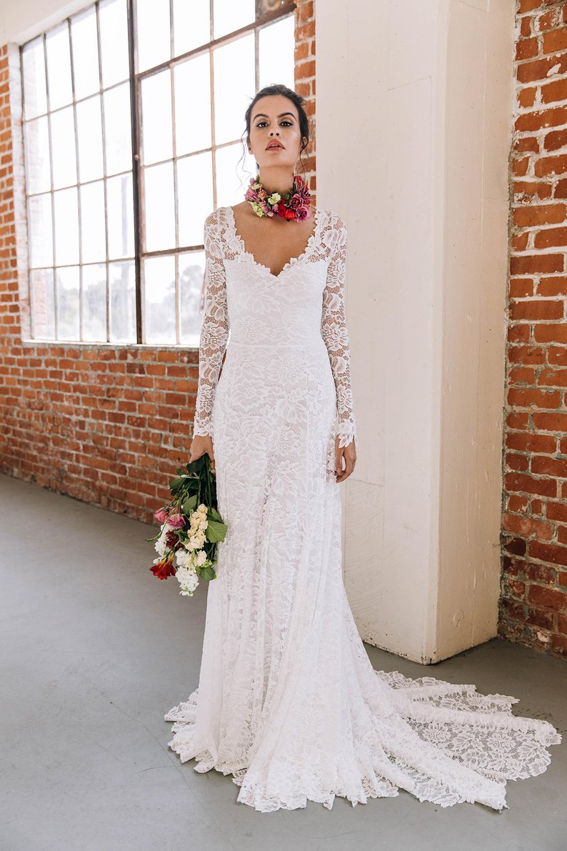Open Back High Quality French Lace Long Sleeve Wedding Dress - daisystyledress