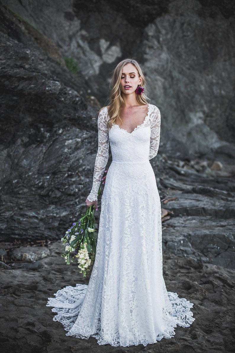 Long Sleeve Open Back High Quality French Lace Wedding Dress - daisystyledress