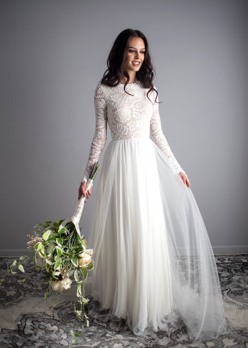 Long Sleeves Lace Boho Wedding Dress