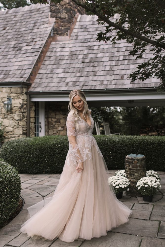 Long Sleeve Lace Low Back Plus Size Wedding Dress - daisystyledress