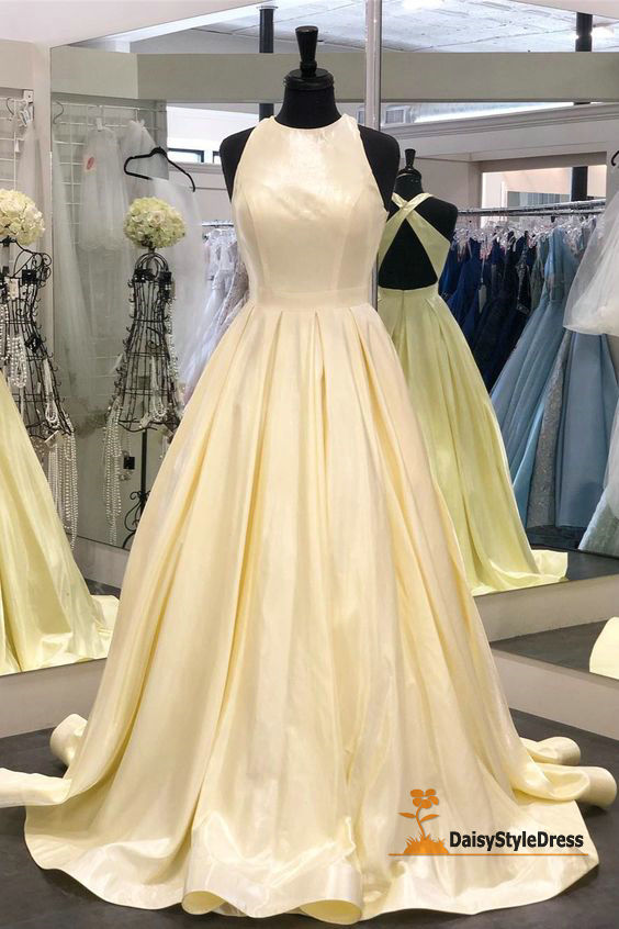 Cheap Ball Gown Cross Back Prom Dress - daisystyledress