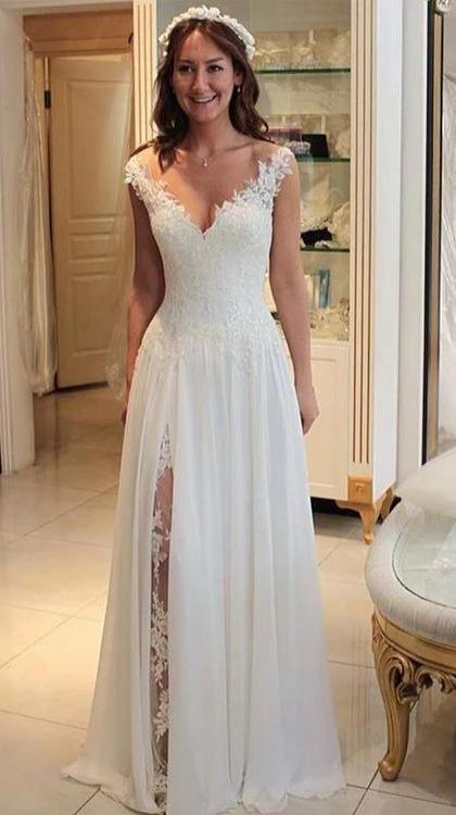Cap Straps Sexy Slit Bohemian Wedding Dress - daisystyledress