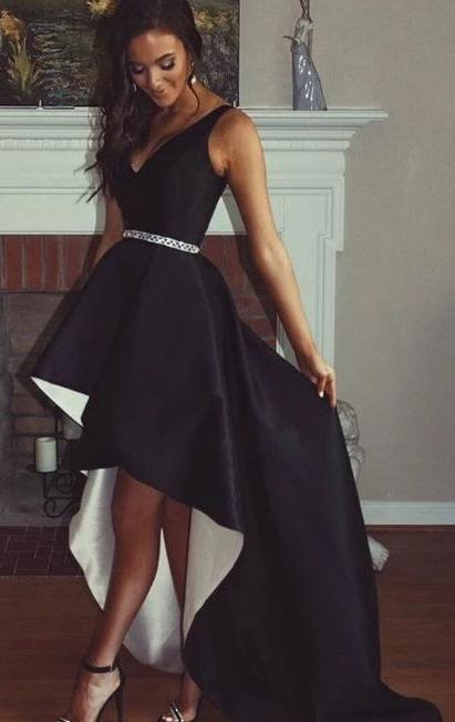 High Low Black And White Prom Dress - daisystyledress