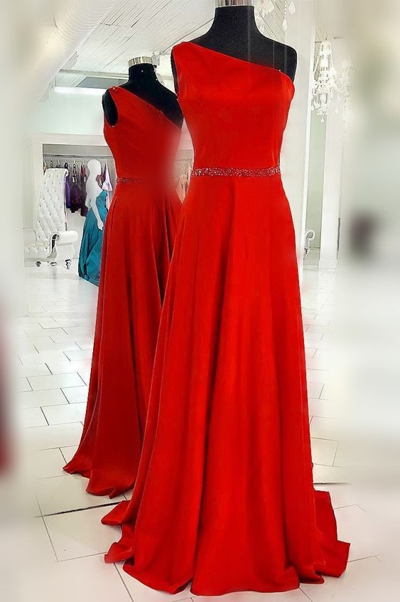 One Shoulder Red Formal Party Dress - daisystyledress
