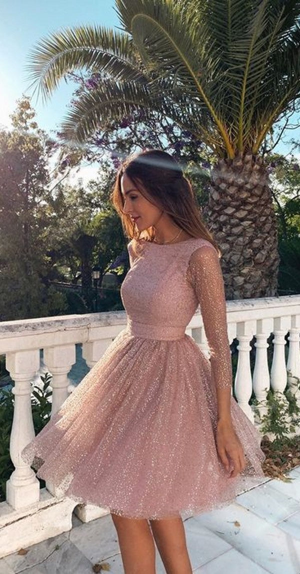 Short Length Long Sleeve Open Back Formal Party Dress - daisystyledress