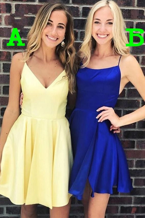 Fashion Knee Length Spaghetti Straps Cheap Homecoming Dress - daisystyledress