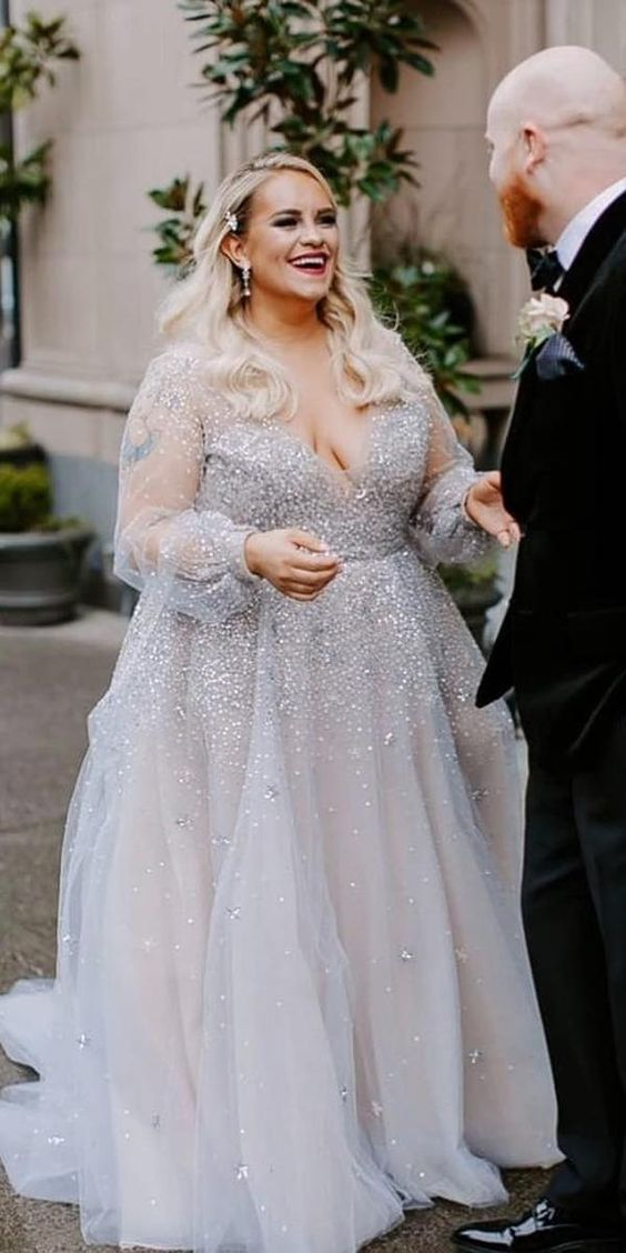 Long Sleeve Beaded Plus Size Wedding Dress - daisystyledress