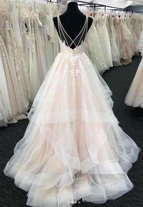Sexy Open Back Wedding Dress with Layered Skirt - daisystyledress