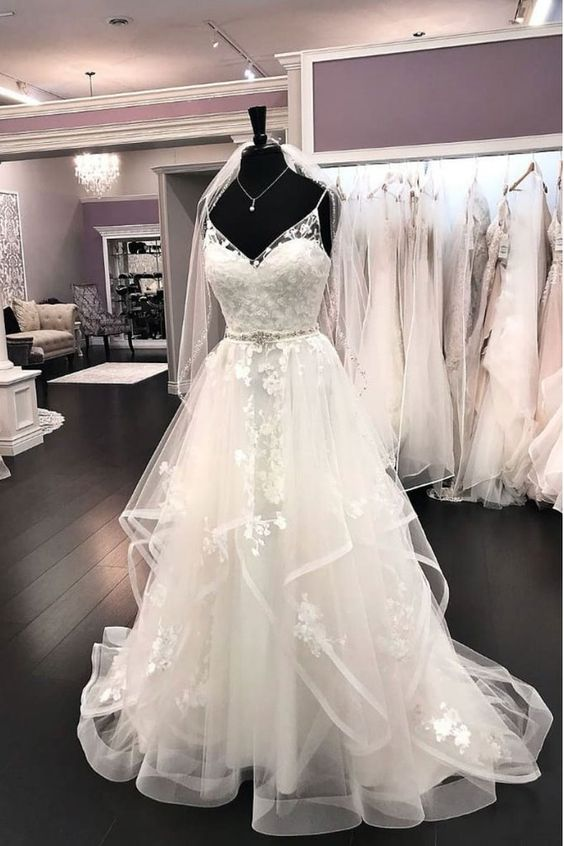 Fashion Spaghetti Straps Tiered Skirt Lace Wedding Dress - daisystyledress
