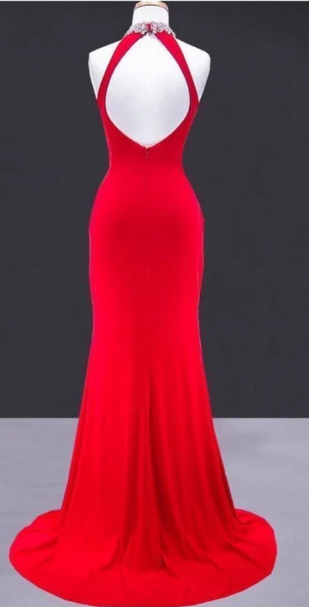 Simple Fitted Halter Neckline Red Evening Dress - daisystyledress