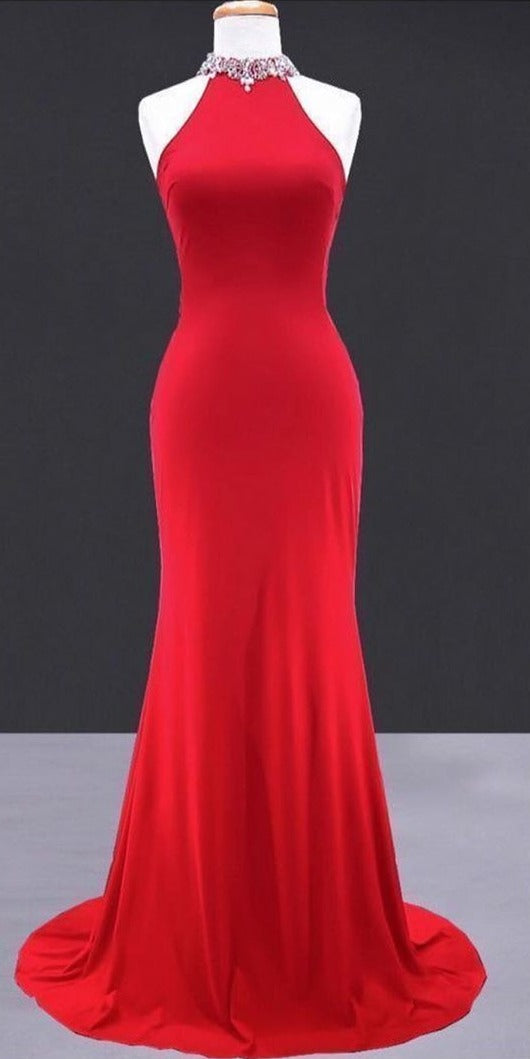 Simple Fitted Halter Neckline Red Evening Dress