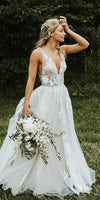 A line V-neckline Lace Deep V-back Wedding Dress - daisystyledress