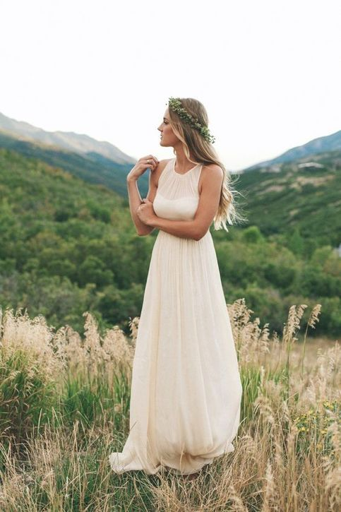 High Neckline Bohemian Wedding Dress - daisystyledress