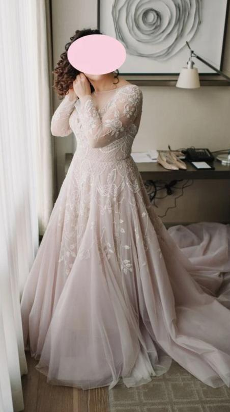 Plus Size Blush Long Sleeve Lace Wedding Dress - daisystyledress
