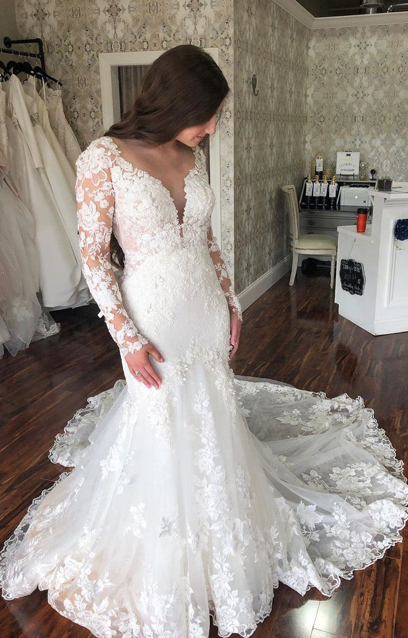 Mermaid Deep V-back Long Sleeve Lace Wedding Dress - daisystyledress