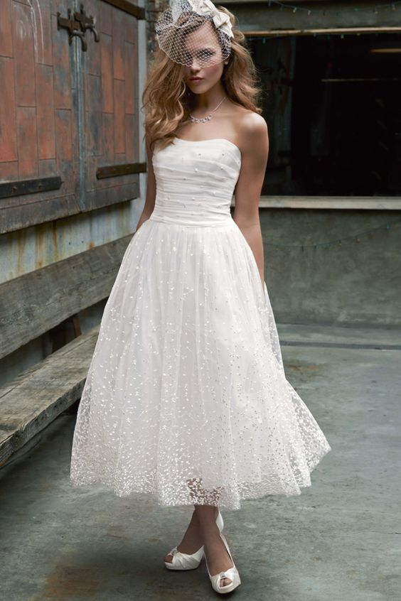Informal Ankle Length Strapless Wedding Dress - daisystyledress