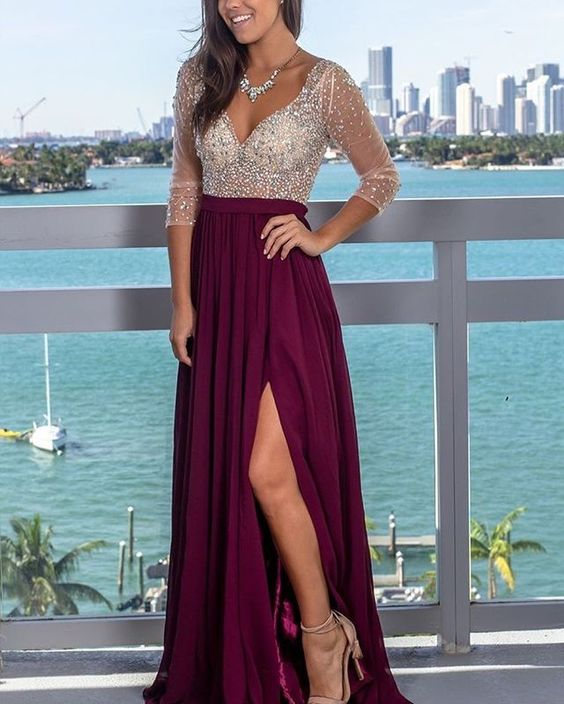 Sexy Slit Beaded Long Sleeve Deep V-back Evening Dress - daisystyledress