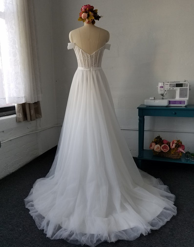 Soft Tulle Cap Straps Sheer Wedding Dress - daisystyledress