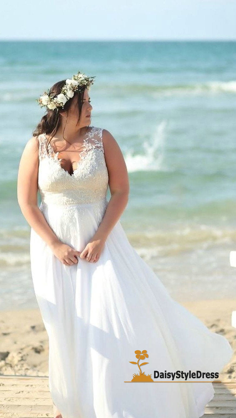 Elegant V-neckline Plus Size Lace Wedding Dress - daisystyledress