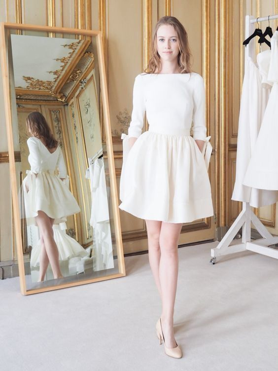 Knee length Informal Long Sleeve Wedding Dress - daisystyledress