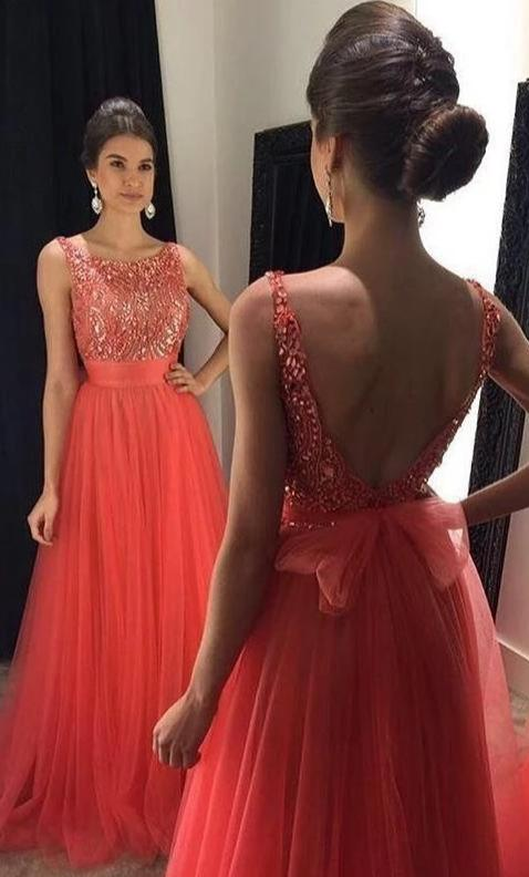 A line V-back Tulle Prom Dress - daisystyledress