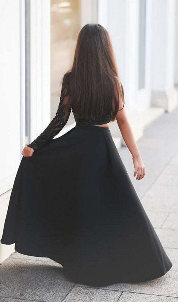 Two Piece Single Sleeve Black Prom Dress - daisystyledress