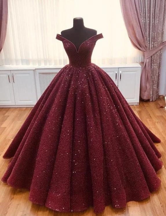 Classic Off Shoulder Sleeve Burgundy Sequins Ball Gown - daisystyledress