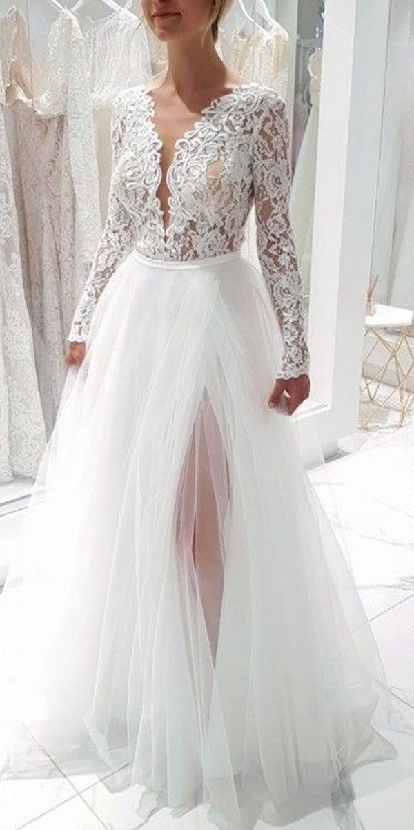 Sexy Slit Long Sleeve High Quality French Lace V-back Wedding Dress - daisystyledress
