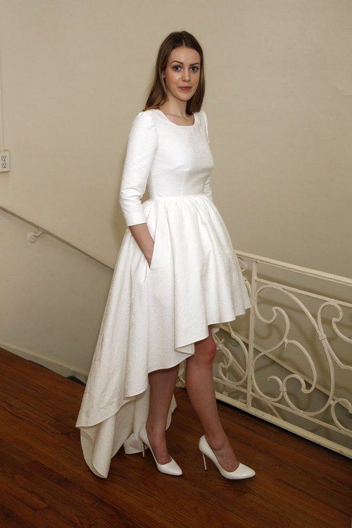 Simple Long Sleeve High low Wedding Dress - daisystyledress