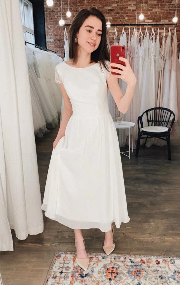 Vintage Informal Tea Length Wedding Dress - daisystyledress