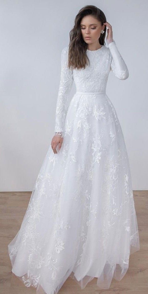 Modest Long Sleeve High Quality French Lace Wedding Dress - daisystyledress